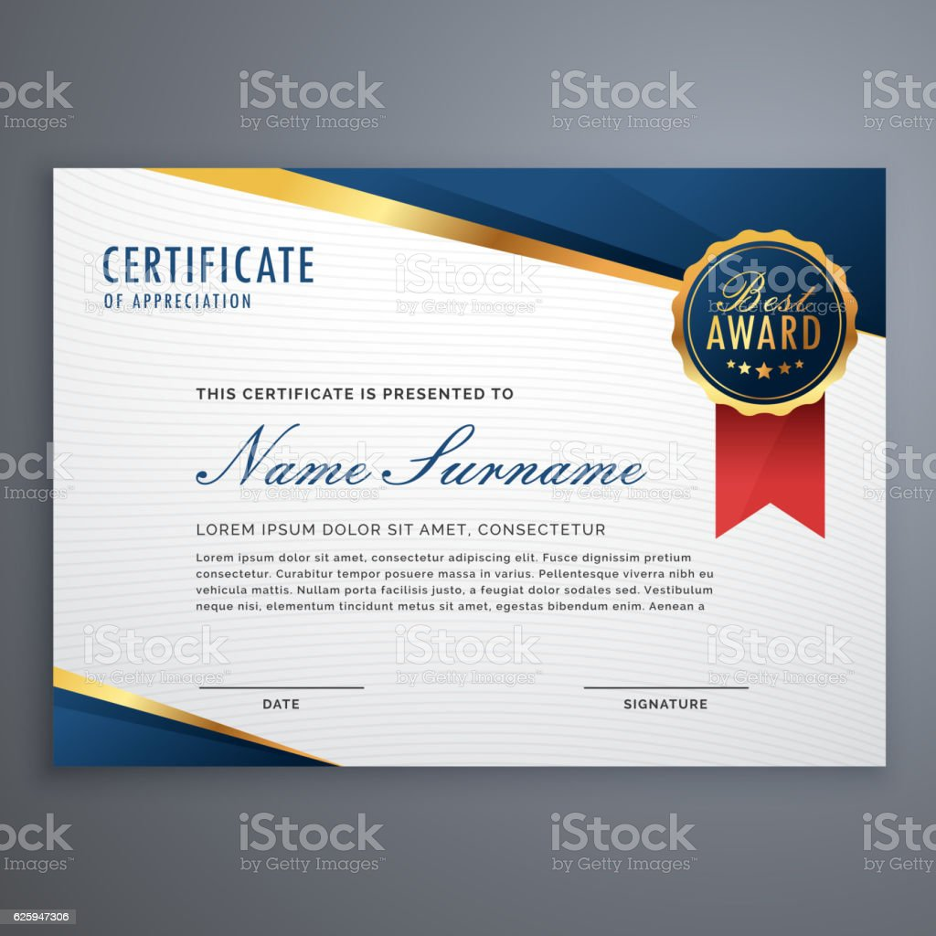 creative certificate of appreciation award template with blue an vector art illustration