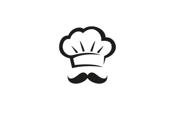 Creative Chef Hat MoustacheLogo Design Vector Symbol Illustration Creative Chef Hat MoustacheLogo Design Vector Symbol Illustration cooking symbols stock illustrations