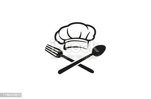 istock Creative Chef Hat Spoon Fork logo Vector Symbol Design Illustration 1156423972