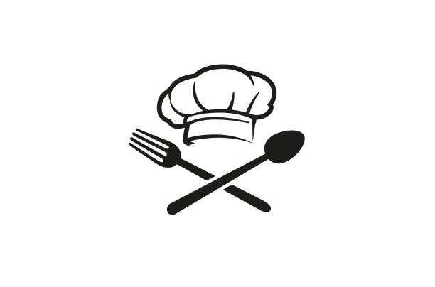 Creative Chef Hat Spoon Fork logo Vector Symbol Design Illustration Creative Chef Hat Spoon Fork logo Vector Symbol Design Illustration chef's hat stock illustrations