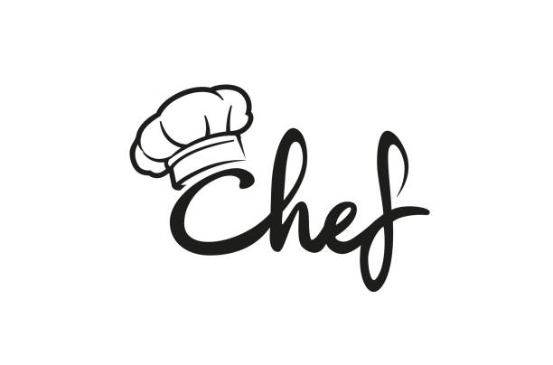 illustrations, cliparts, dessins animés et icônes de creative chef hat symbole texte message lettre logo vector design illustration - cuisinier