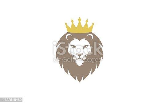 Creative Chef Lion Crown Logo Design Symbol Vector Illustration