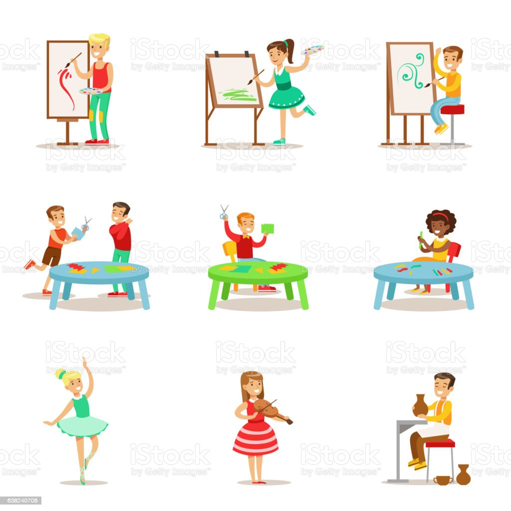 Creative Children Practicing Different Arts And Crafts vector art illustration