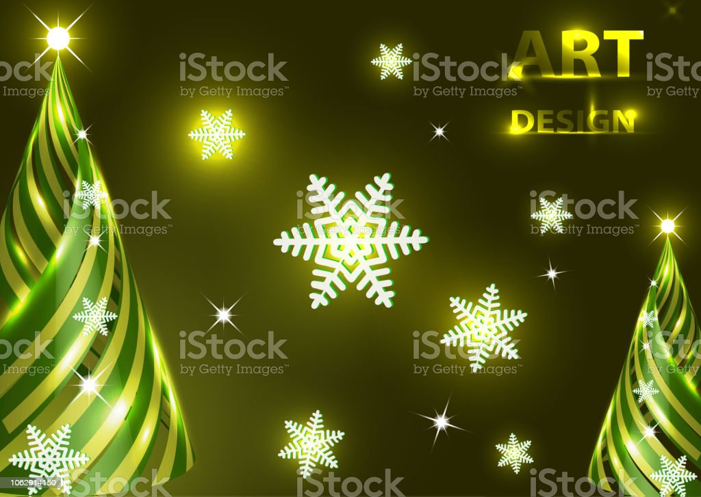 creative christmas new year tree design template snowflakes highlights vector illustration