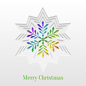 Abstract Paper Cut Christmas Snowflake Background, Trendy Greeting Card or Invitation Design Template