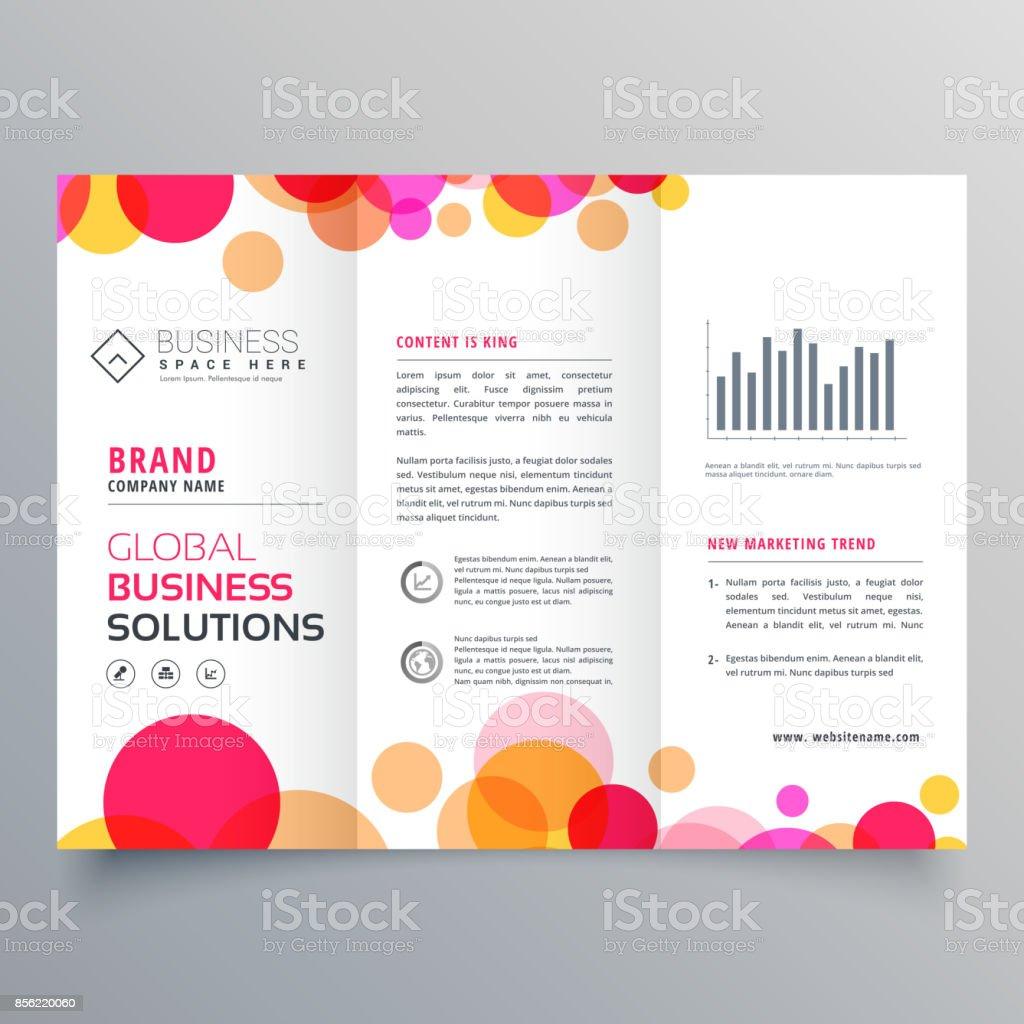 creative circles tri fold brochure template design for business presentation vector art illustration