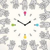 creative clock design with colorful bulb and hand pointer vector