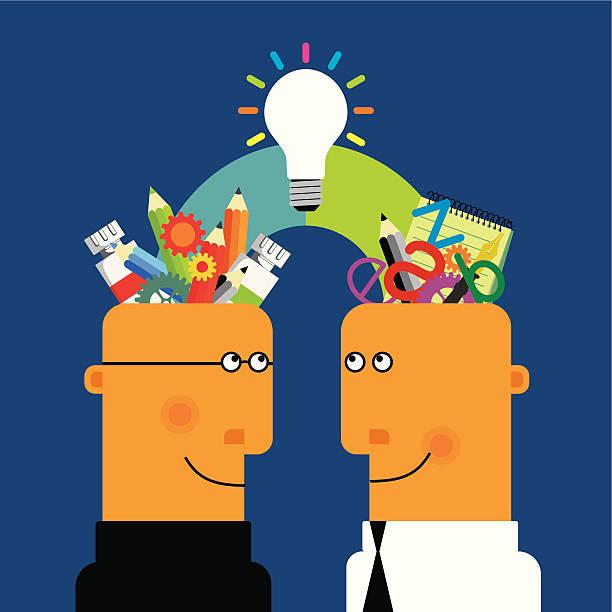 ilustraciones, imágenes clip art, dibujos animados e iconos de stock de colaboración creativa - tintanegra00