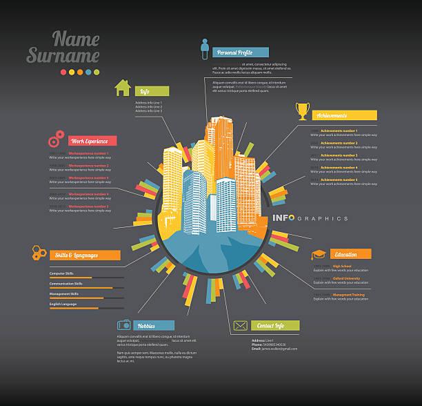 creative, color rich cv / resume template. - business cv templates stock illustrations