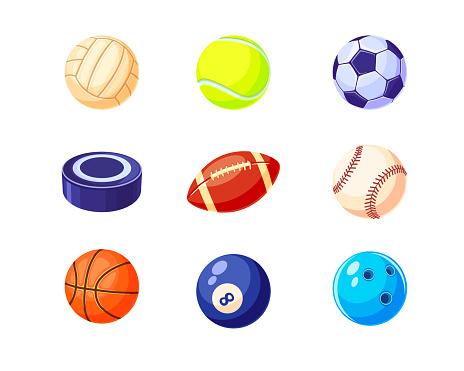 Creative colorful balls flat illustration set