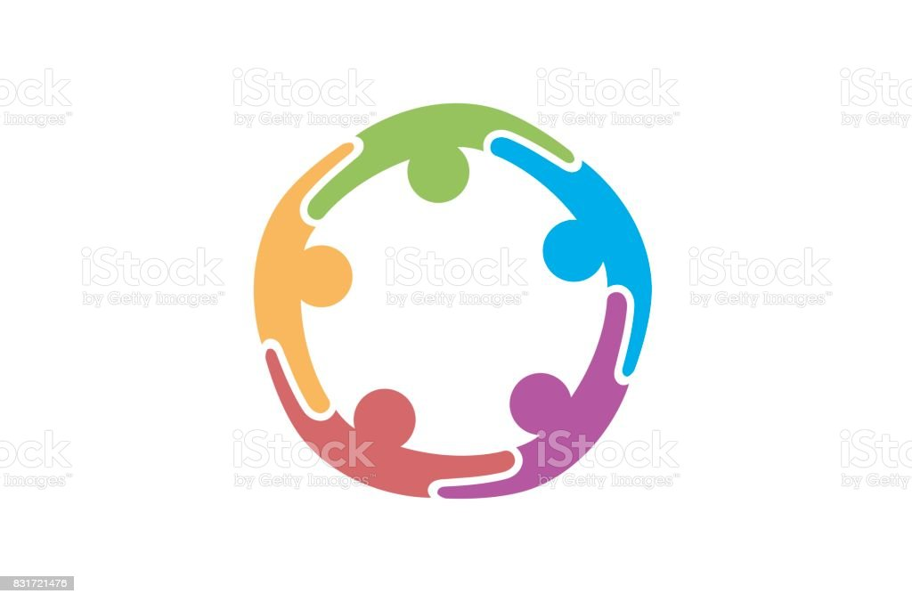 Creative Colorful Five Abstract People Symbol Design royalty-free creative colorful five abstract people symbol design stock illustration - download image now