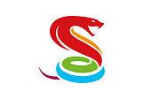 Creative Colorful Hexagon Cobra Snake Logo