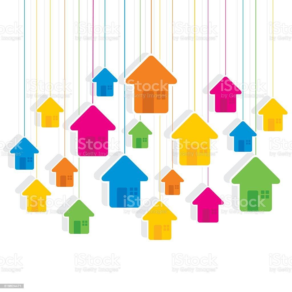 creative colorful home design pattern vector art illustration