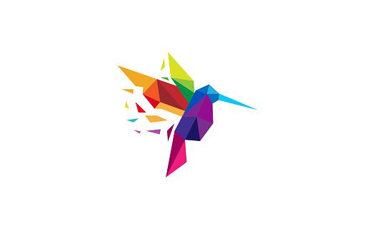 Creative Colorful Humming Bird Logo