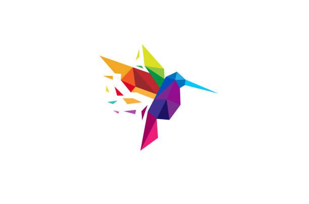 creative colorful humming bird logo - hummingbird stock illustrations