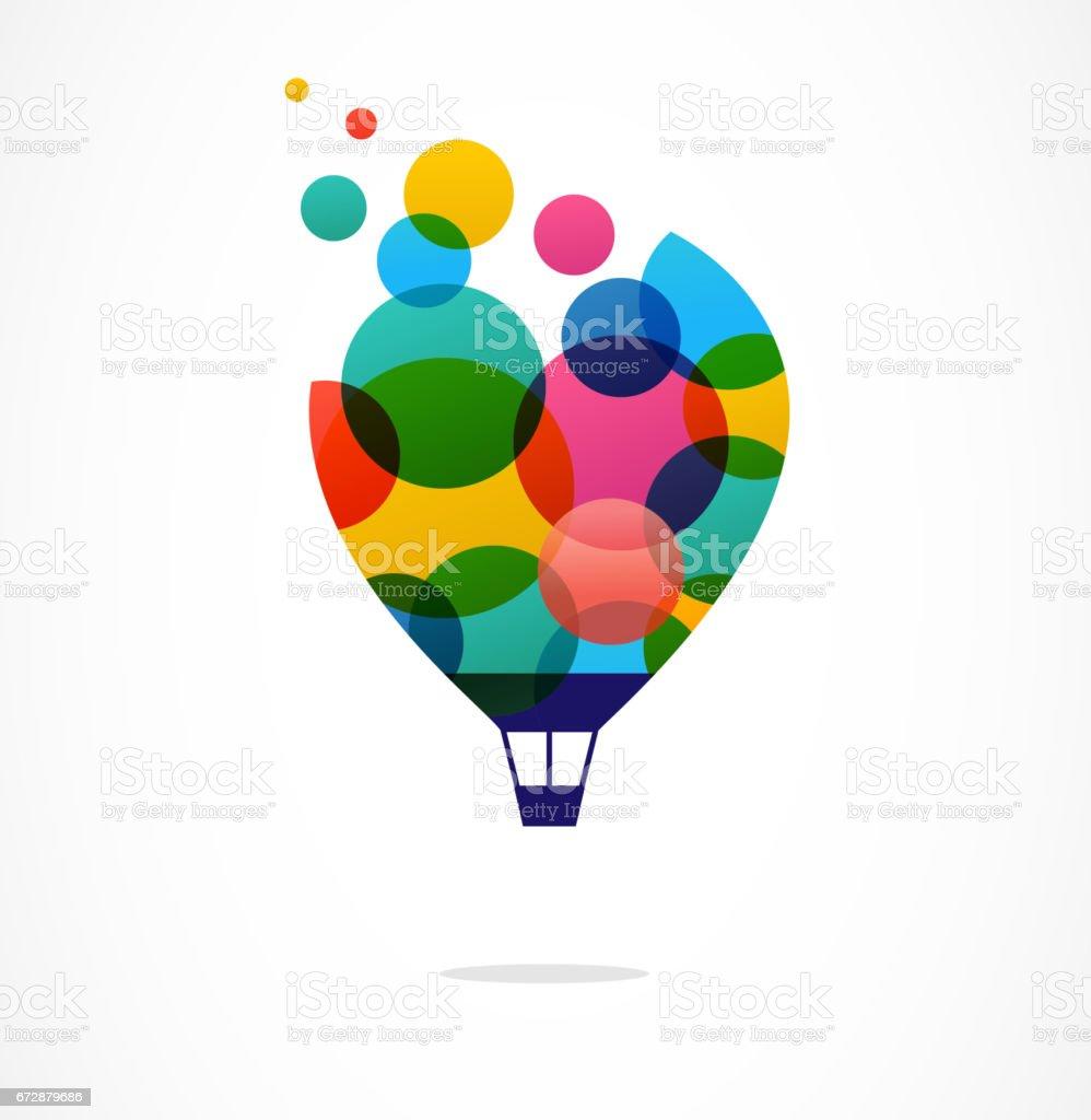 Creative colorful icon, hot air balloon