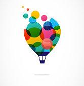 istock Creative colorful icon, hot air balloon 672879686