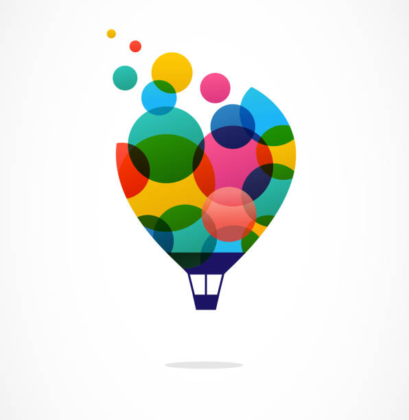 Creative colorful icon, hot air balloon Creative, digital abstract and children style colorful icon of hot air balloon with colorful happy icons, symbols love emotion stock illustrations