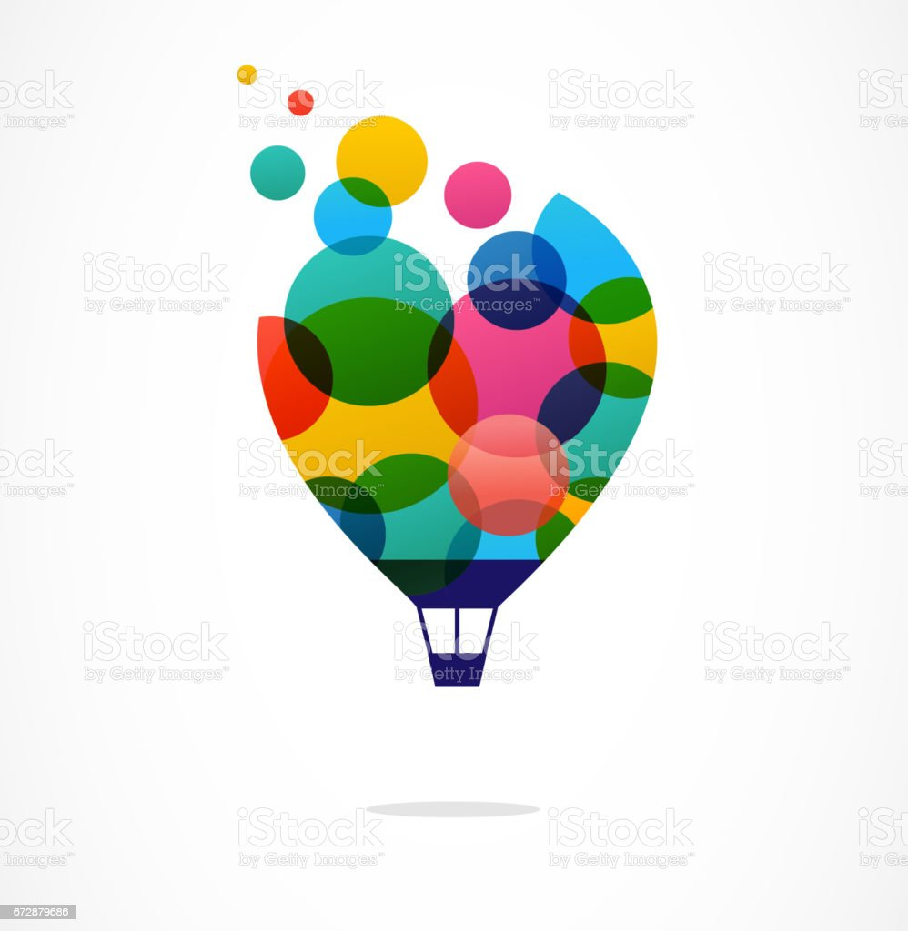 Creative colorful icon, hot air balloon vector art illustration
