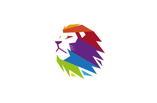 Creative Colorful Lion Head Logo