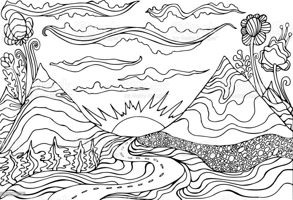 Ilustración De Creativa Página De Colorear Fantasía Con Un
