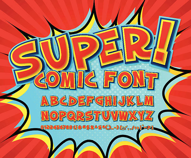 creative comic font. vector alphabet in style pop art - cartoon kids stock illustrations, clip art, cartoons, & icons