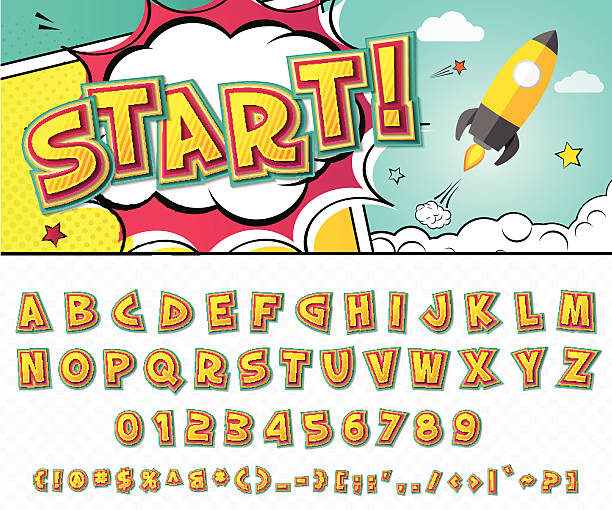 Creative comic font. Vector alphabet in style pop art vector art illustration