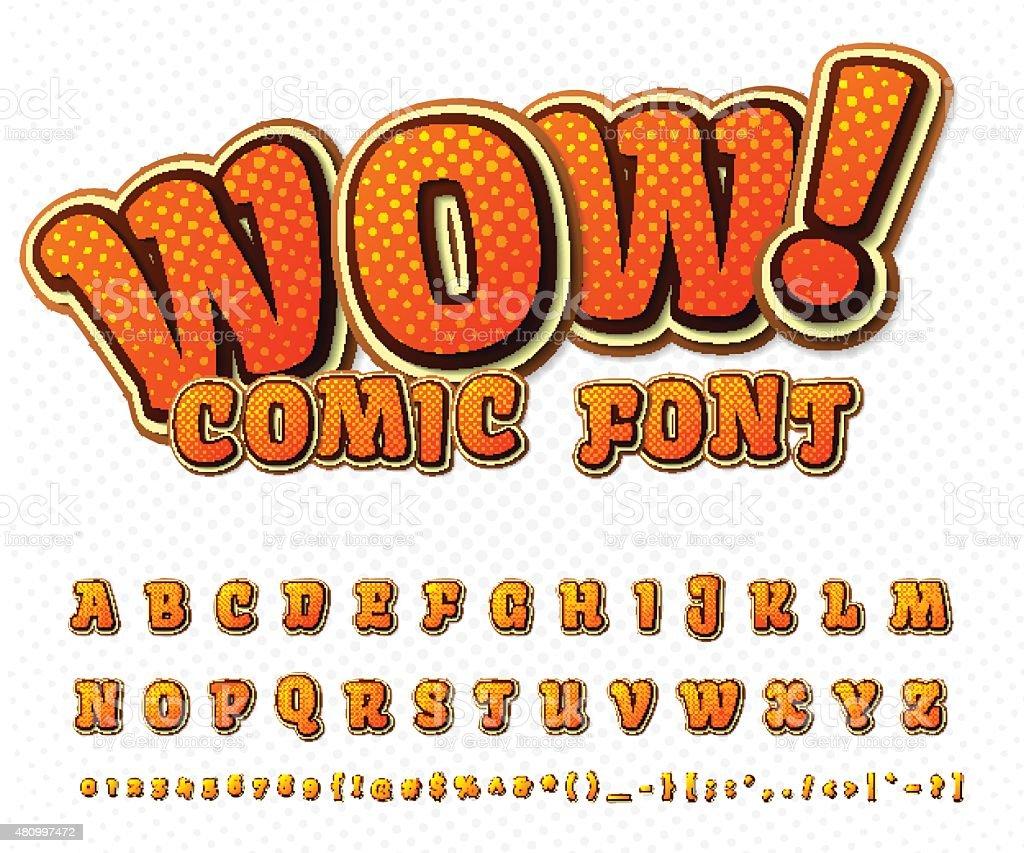 Créatif police de la bande dessinée.   Vecteur de l'alphabet dans le style pop art - Illustration vectorielle