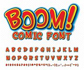 Creative high detail comic font. Alphabet in the style of comics and pop art. Multilayer funny colorful letters and figures for decoration of kids' illustrations, websites, posters, comics and banners
