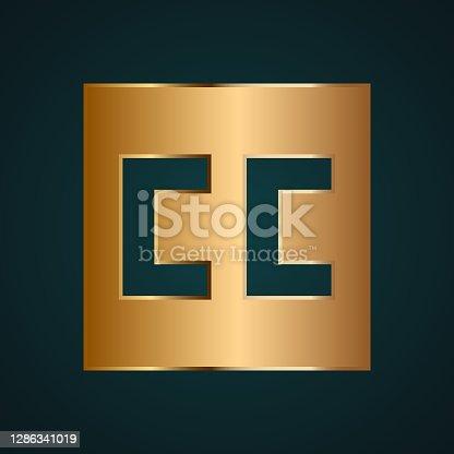 istock CC Creative Commons icon vector. Gradient gold metal 1286341019