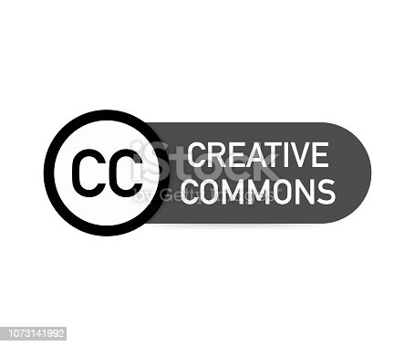 istock Creative commons rights management sign with circular CC icon. Vector illustration. 1073141992