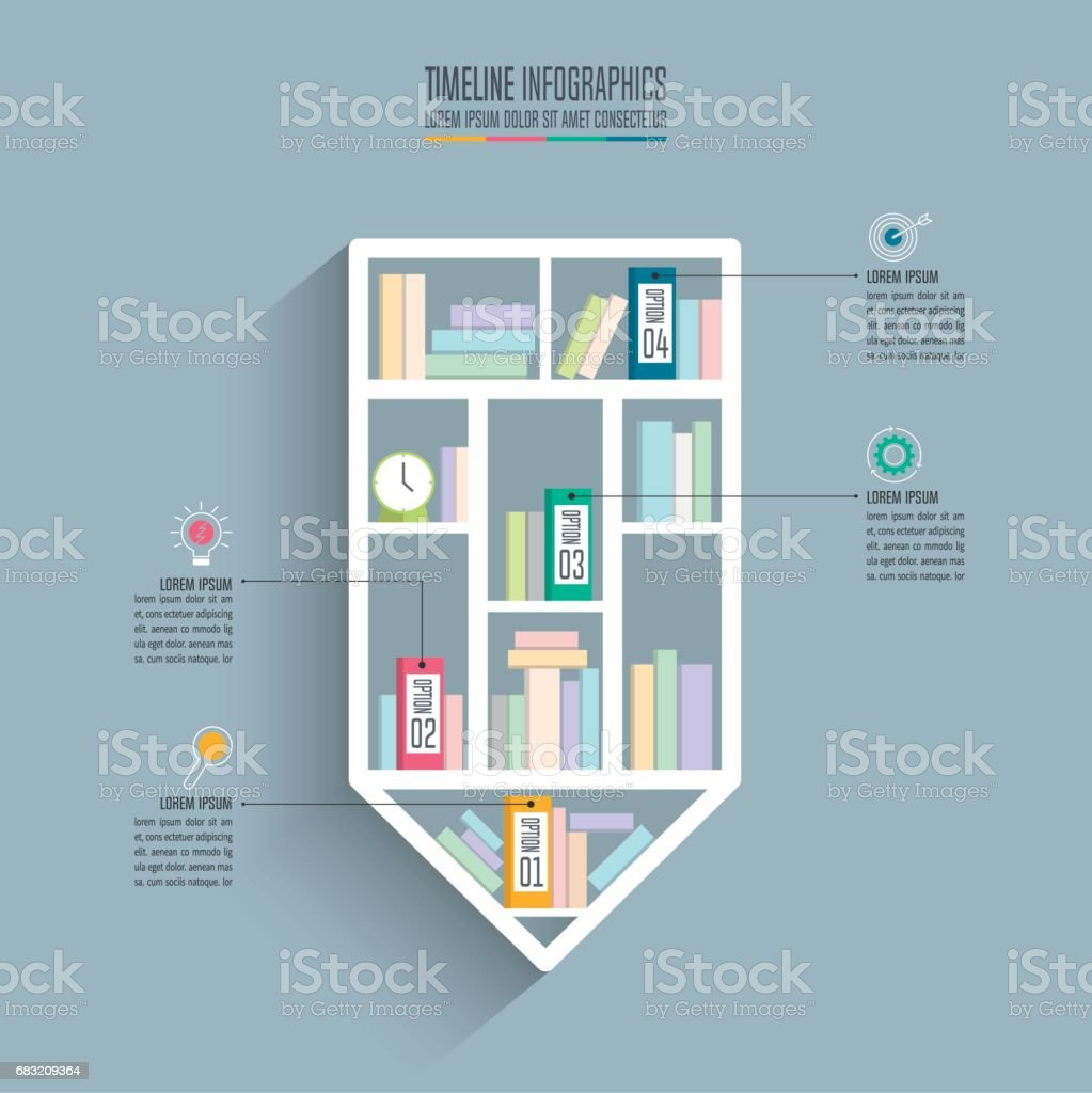 圖表的的創意概念。鉛筆書架時間表圖表設計和行銷的圖示演示文稿、 工作流、 圖、 年度報告、 web 設計。經營理念與 4 個選項。 免版稅 圖表的的創意概念鉛筆書架時間表圖表設計和行銷的圖示演示文稿 工作流 圖 年度報告 web 設計經營理念與 4 個選項 向量插圖及更多 互聯網 圖片