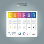 Creative concept for infographic. Timeline infographic design vector and marketing icons for presentation, workflow layout, diagram, annual report, web design. Business concept with 6 options.