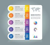 Creative concept for infographic. Timeline infographic design vector and marketing icons for presentation, workflow layout, diagram, annual report, web design. Business concept with 5 options.