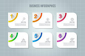 Creative concept for infographic with 6 options, parts or processes. Timeline infographic business design and marketing icons for presentation, annual report, diagram, workflow layout and web design.