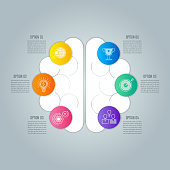 Creative concept for infographic with 6 options.