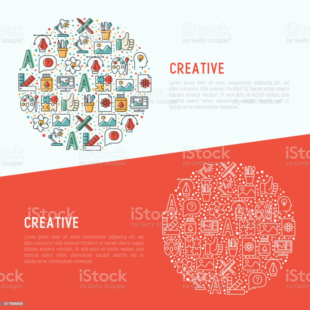 Creative Concept In Circle With Thin Line Icons Of Idea Puzzle Color ...