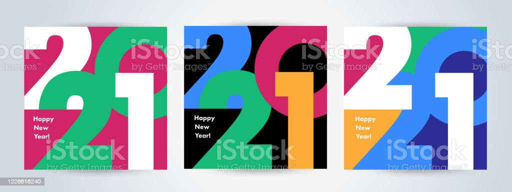 Creative concept of 2021 Happy New Year posters set. Design templates with typography logo 2021 - Royalty-free 2021 arte vetorial