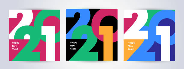 Creative concept of 2021 Happy New Year posters set. Design templates with typography logo 2021 Creative concept of 2021 Happy New Year posters set. Design templates with typography logo 2021 for celebration and season decoration. Minimalistic trendy backgrounds for branding, banner, cover, card 2021 stock illustrations