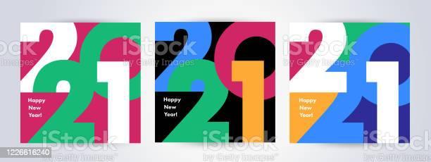 Creative Concept Of 2021 Happy New Year Posters Set Design Templates With Typography Logo 2021 - Arte vetorial de stock e mais imagens de 2021