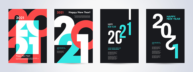 Creative concept of 2021 Happy New Year posters set