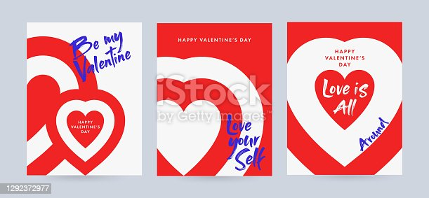 istock Creative concept of Happy Valentine's Day posters set with typography text be my valentine, love is all around and love yourself. Minimalistic trendy design templates 1292372977