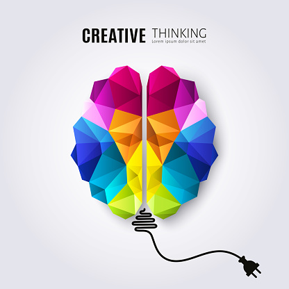 Creative concept of the human brain with connected electricity wire. Vector.
