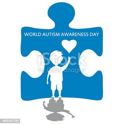 istock Creative concept vector illustration for World Autism awareness day. Can be used for banners, backgrounds, badge, icon, medical posters, brochures. Vector, isolated 945451762