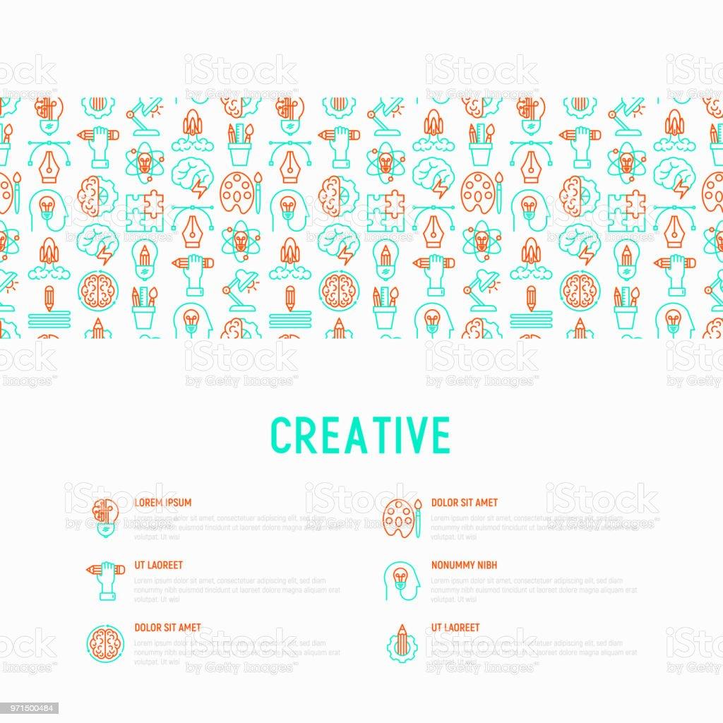 Ilustración de Concepto Creativo Con Los Iconos De La Delgada Línea ...