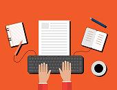 Creative Content  Writing, Blogging Post, Digital Media Flat Illustration