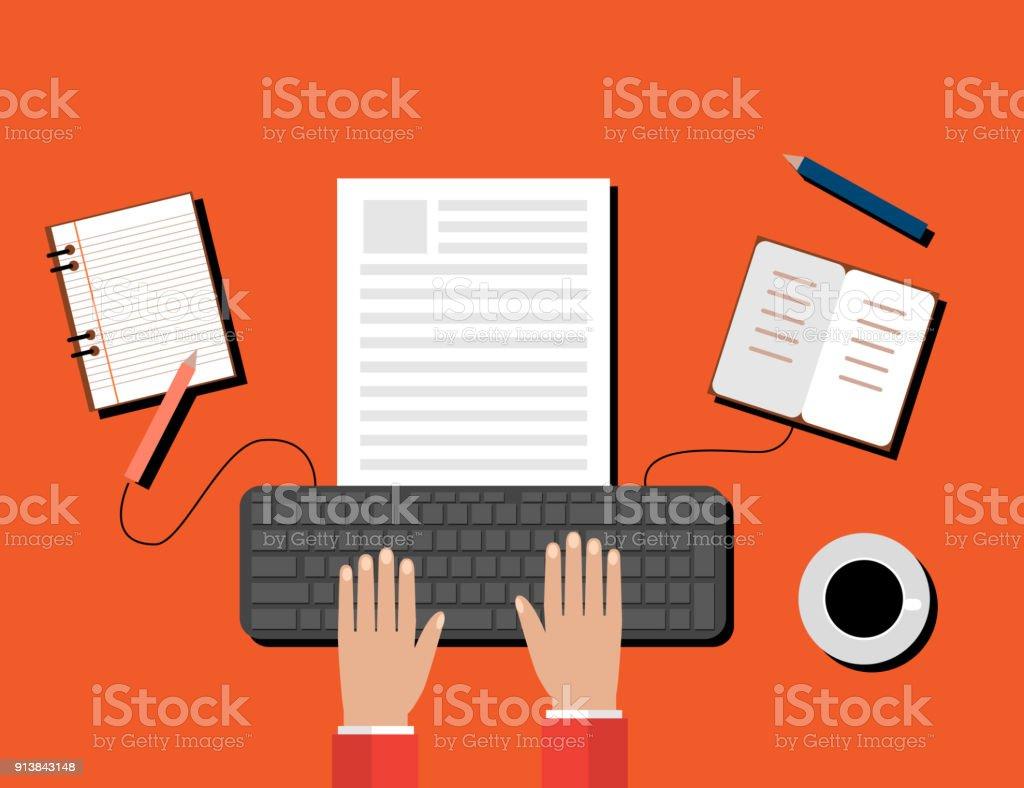 Creative Content  Writing, Blogging Post, Digital Media Flat Illustration vector art illustration