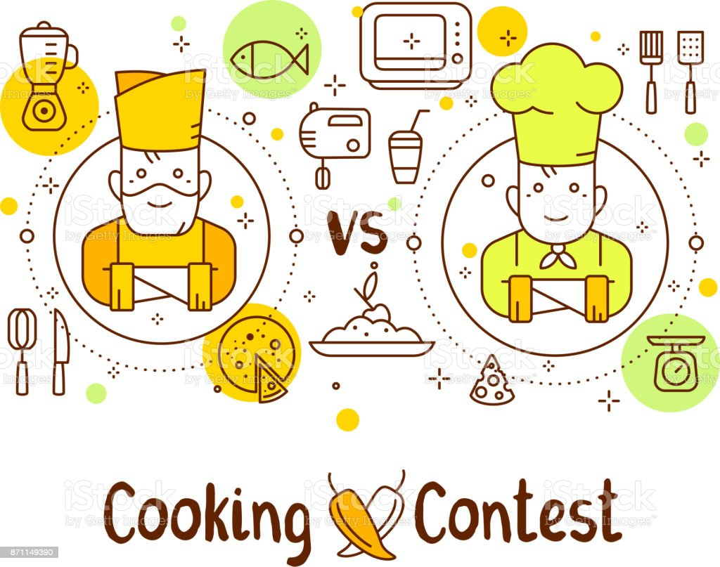 Creative cooking contest concept: old man vs young man on white background. Vector illustration of two chief cook with food icons and inscription. vector art illustration