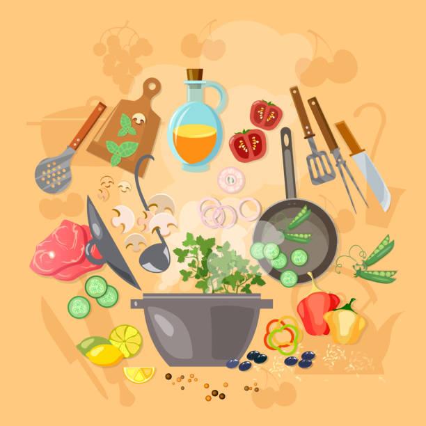 Creative cooking vector illustration vector art illustration