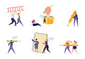 istock Creative Copywriter People Business Character Set. Writer Team Draw Pencil in Notebook. Hipster Freelancer Employee Success Career. Man Corporate Coworking Flat Cartoon Vector Illustration 1090474214